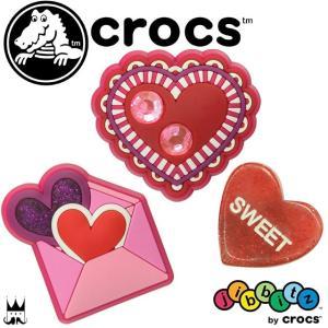 クロックス crocs ハート ジビッツ 3個セット キッズ レディース Valentine pack jibbitz ラバークロッグ用アクセサリー 3P 3コ セット パック 赤 レッド 女子|smw