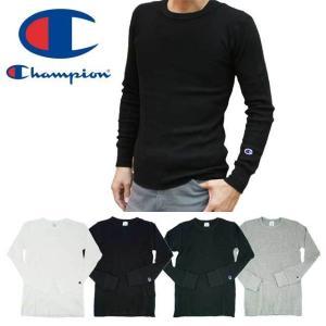 チャンピオン Champion メンズ サーマル ロングスリーブ Tシャツ C3-E430 トップス 010 ホワイト 090 ブラック 370 ネイビー 070 オックスフォードグレー|smw