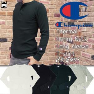 チャンピオン Champion メンズ サーマル ヘンリーネック ロングスリーブ Tシャツ C3-E431 トップス 010 ホワイト 090 ブラック 370 ネイビー 070|smw