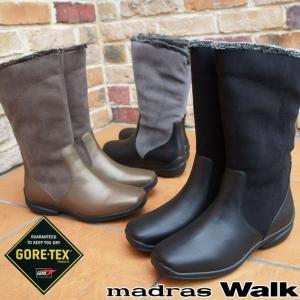 マドラスウォーク madras Walk レディース ゴアテックス ロングブーツ MW2074 ジョッキーブーツ ブラック ブロンズ ブラックグレー ゆったり 3E 防水|smw