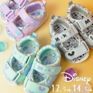 ディズニー サンダル ベビーシューズ DS4151 男の子 女の子 キッズ ベビー靴 子供靴 ファーストシューズ ベルクロ ブルー ピンク グレー ミッキーマウス|smw
