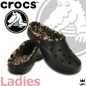 クロックス crocs 靴 レディース サンダル 202318-072 フリーセイル レオパード ラインド クロッグ 黒 もこもこ|smw