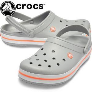クロックス crocs クロッグサンダル メンズ レディース 11016 OFL コンフォートサンダル アクアサンダル ライトグレー/ブライトコーラル crocband 水辺 レジャー|smw