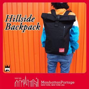 マンハッタンポーテージ Manhattan Portage メンズ レディース バッグ MP1253 ヒルサイド バックパック リュック デイバッグ ロールトップ 黒 ブラック 通勤|smw