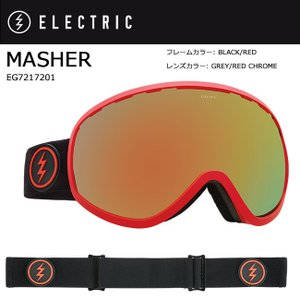 2018 ELECTRIC エレクトリック MASHER BLACK/RED GREY/RED CHROME JP EG7217201 【ゴーグル】アジアンフィット|snb-shop