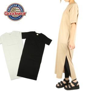 GOODWEAR グッドウェア SLIT ONE PIECE クルーネックスリットワンピース GDW-LCS-191001 Tシャツ ロング 日本正規品【メール便・代引不可】|snb-shop