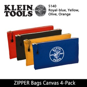 KLEIN TOOLS クラインツールズ ZIPPER Bags Canvas 4-Pack 5140 Royal-blue/Yellow/Olive/Orange 【カバン】ポーチ キャンバス|snb-shop