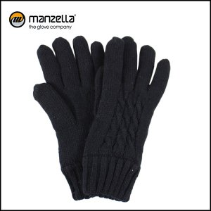 MANZELLA/マンツェラ グローブ CABLE KNIT GLOVE/BLK|snb-shop