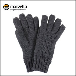 MANZELLA/マンツェラ グローブ CABLE KNIT GLOVE/CHARCOAL|snb-shop