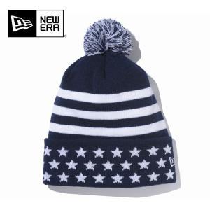 NEWERA ニューエラ ニットキャプ Pom-Pon Knit Stars & Stripes/ ネイビー/ N0021387 ビーニー 【メール便・代引不可】|snb-shop