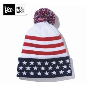 NEWERA ニューエラ ニットキャプ Pom-Pon Knit Stars & Stripes/ ホワイト/ N0021388 ビーニー 【メール便・代引不可】|snb-shop