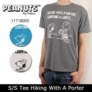 PEANUTS ピーナッツ Tシャツ S/S Tee Hiking With A Porter 11718005 スヌーピー メンズ レディース ユニセックス キャラクター【メール便・代引不可】|snb-shop