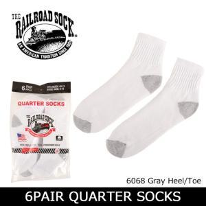RAILROAD SOCK レイルロードソック 6PAIR QUARTER SOCKS 6068 Gray Heel/Toe 【雑貨】 靴下 ソックス ショートソックス くるぶし メンズ 男性用 snb-shop