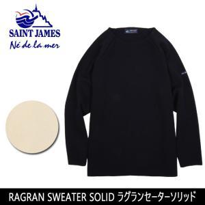 SAINTJAMES セントジェームス セーター RAGRAN SWEATER SOLID ラグランセーターソリッド 17JLRAGL 1001/1U ウール 薄手 重ね着 軽量 クルーネック ラグラン袖|snb-shop