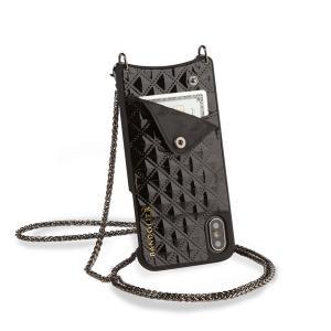 【スネークチェーンのシックなデザイン:シーラスタイル(ブラック)】 キルティングで光沢のあるブラック...