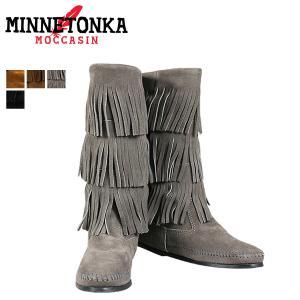 ミネトンカ ブーツ MINNETONKA カーフ ハイ 3レ...