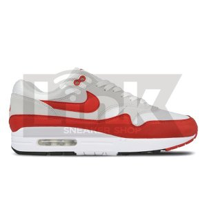 NIKE AIR MAX 1 ANNIVERSARY WHITE/UNIV RED-NTRL GRE...