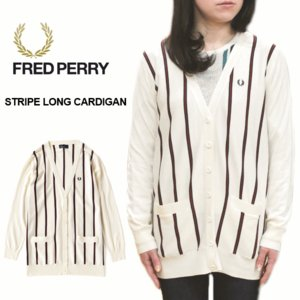 20%OFF フレッドペリー FRED PERRY STRIPE LONG CARDIGAN ストライプ ロング カーディガン オフホワイト F7101-09|sneaker-soko