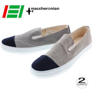 マカロニアン maccheronian スニーカー 4001F 17FW1 ベージュ/ネイビー グレー/ネイビー|sneaker-soko