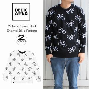 デディケイテッド DEDICATED マルメ スウェットシャツ エナメル バイク パターン ブラック(15629)ホワイト(15630)|sneaker-soko