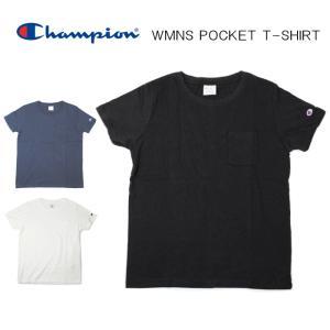 チャンピオン Champion ウィメンズ ポケット Tシャツ CW-J301 ホワイト(010) ブラック(090) ネイビー(370)|sneaker-soko