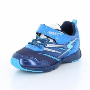 子供靴 バネのチカラ ムーンスター SSK914 ブルー 男の子 キッズ スニーカー|sneakers-trend