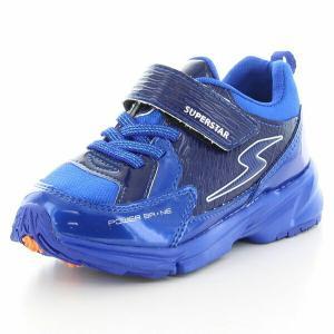 子供靴 バネのチカラ ムーンスター SSK916 ブルー 3E 男の子 キッズ スニーカー|sneakers-trend