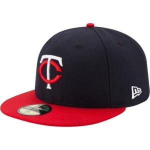 ニューエラ メンズ 帽子 キャップ Men's Minnesota Twins 59Fifty Road Navy Authentic Hat|sneakersuppliers