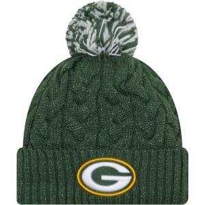 ニューエラ レディース 帽子 キャップ Women's Green Bay Packers Cozy Cable Green Pom Knit|sneakersuppliers