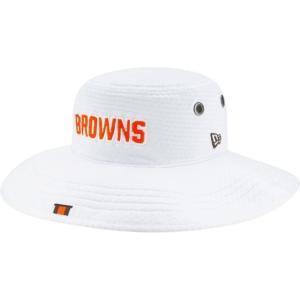 ニューエラ メンズ 帽子 キャップ Men's Cleveland Browns Sideline Training Camp Panama White Bucket Hat|sneakersuppliers
