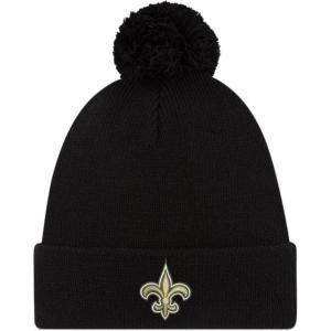 ニューエラ メンズ 帽子 キャップ Men's New Orleans Saints Black Cuffed Pom Top Knit|sneakersuppliers