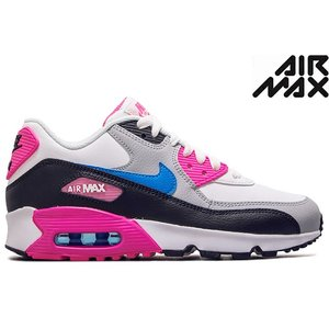 NIKE AIR MAX 90 LEATHER GS 833376-107 WHITE/BLACK/PINK BLAST/PHOTO BLUE ナイキ エア マックス 90 LTR (GS) ホワイト ピンク ブルー レディース スニーカー|sneeze