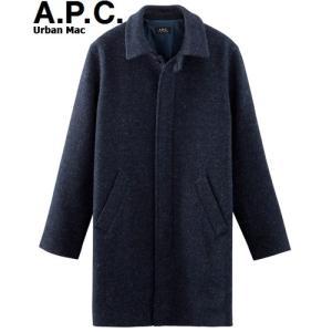 A.P.C. HOMME 2015 COLLECTION AUTOMNE URBAN MAC 杢 MARINE H01103アーペーセー アーバン マック 杢 マリン ネイビー チェスターコート へリンボーンウール|sneeze