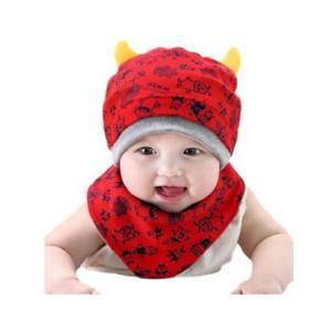 ベビー 帽子 + スタイ 2点 セット モンスター 柄 角付き フライス プレゼント 出産祝い ギフト お祝いに|snowkmu1