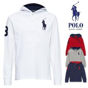 ポロ ラルフローレン ボーイズサイズ POLO Ralph Lauren BOYS ビッグポニー ナンバリング フード メッシュシャツ 長袖 ポロシャツ ロンT 3 トップス メンズ