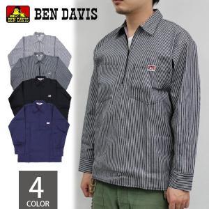 ベンデイビス BEN DAVIS 1/2 ハーフジップ コットン 長袖 ワークシャツ シャツ メンズ|socalworks