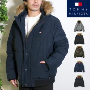 トミー ヒルフィガー メンズ 中綿ジャケット ファーフードつき 長袖 黒 迷彩 トリコロール