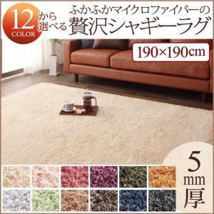 ラグ 正方形 〔190×190cm〕 洗えるシャギーラグ 床暖房/ホットカーペット対応|sofa-lukit