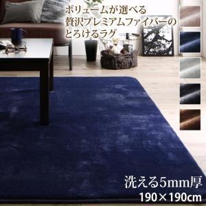 ラグマット 洗える 正方形  190×190cm 〔5mm厚ウレタン入りタイプ〕 sofa-lukit