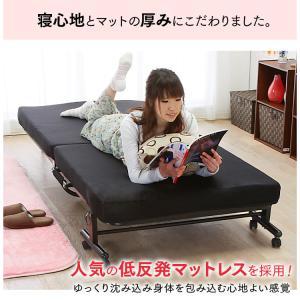 ベッド  シングル 折りたたみ 折りたたみベッド 安い リクライニング 収納 低反発 OTB-TRコンパクト 完成品 折り畳み 布団 寝具|sofort|02