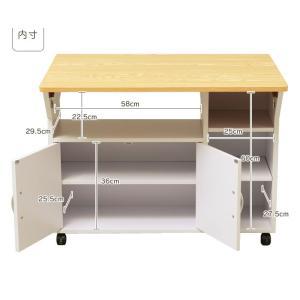 キッチンワゴン キャスター付き 木製 キッチン 収納 キッチンカウンター テーブル バタフライ 折りたたみ|sofort|13