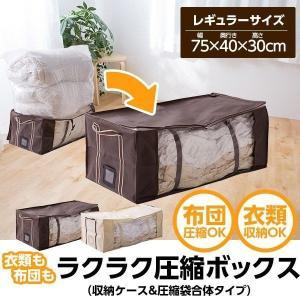 衣類も布団もラクラク圧縮ボックス(収納ケース&圧縮袋合体タイプ) レギュラーサイズ
