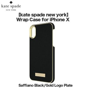 アウトレット kate spade new york Wrap Case for iPhoneXS iPhoneX Saffiano Black / Gold Logo Plate|softbank-selection