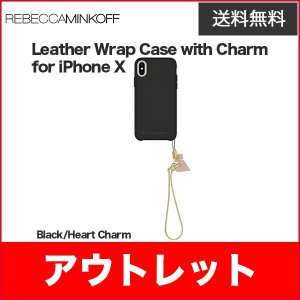 Rebecca Minkoff Leather Wrap Case with Charm for iPhoneXS iPhoneX Black/Heart Charm|softbank-selection