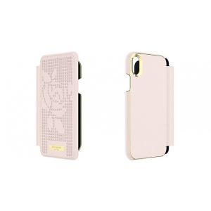 Kate Spade iPhoneXR ケース 手帳型 kate spade new york INLAY WRAP FOLIO ROSE PERF rose quartz|softbank-selection