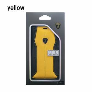 iPhone X ケース Lamborghini Huracan D1 Book type yellow|softbank-selection