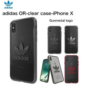 adidas iPhoneX ケース OR-clear case Gunmetal logo|softbank-selection