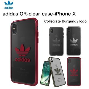 adidas iPhoneX ケース OR-clear case Collegiate Burgundy logo|softbank-selection