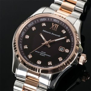 Mauro Jerardi マウロジェラルディ ソーラー メンズ腕時計/ピンクゴールドコンビ MJ037-1 (HY)|softya