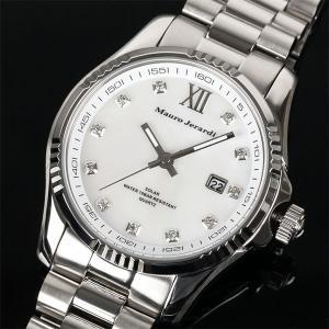 Mauro Jerardi マウロジェラルディ ソーラー メンズ腕時計/ホワイト文字盤 MJ037-3 (HY)|softya